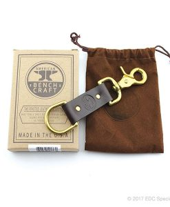 American Benchcraft Trigger Snap Key Fob Brown Leather & Gold