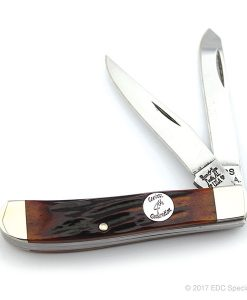 "Bear & Son Cutlery 3 1/2"" Red Stag Bone Mini Trapper"