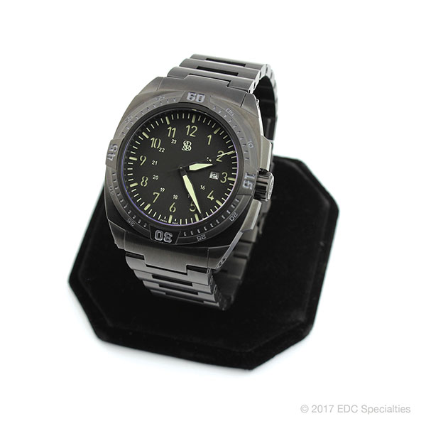 Smith & Bradley Sans-13 Stainless PVD Coated Black Watch with Steel Bracelet