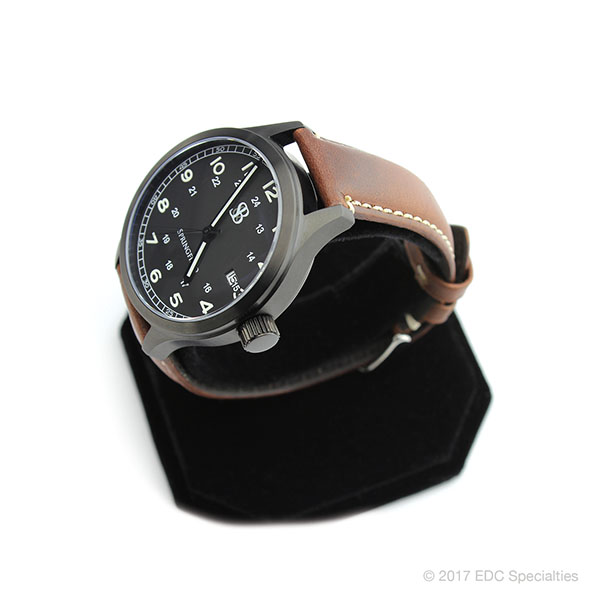 Smith Bradley Springfield Pvd Coated Black Watch With Brown Leather Strap