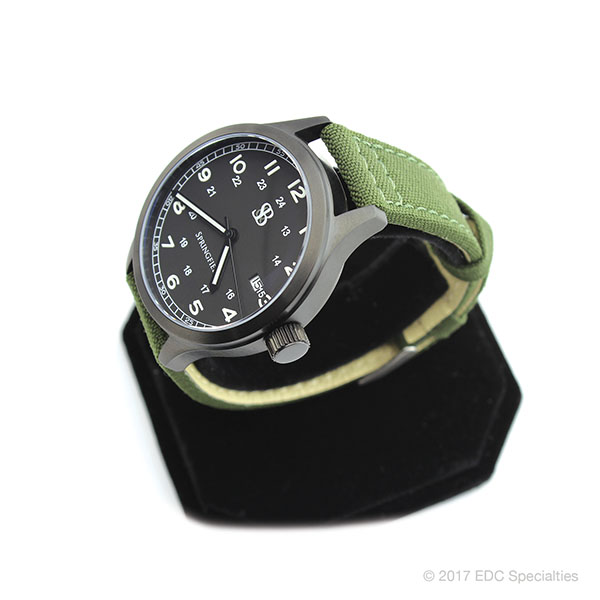 Smith & Bradley Springfield PVD Coated Black Watch with Green Cordura Strap