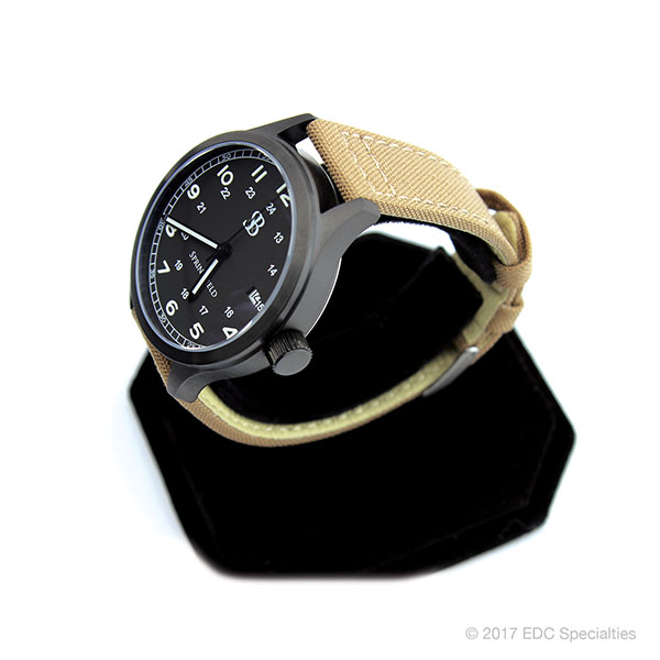 Smith & Bradley Springfield PVD Coated Black Watch with Tan Cordura Strap