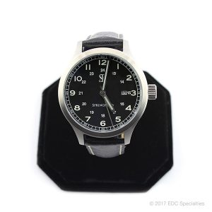 Smith & Bradley Springfield Stainless Steel Watch with Black Leather Strap