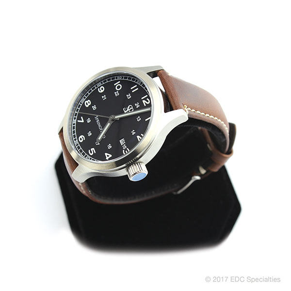 Smith & Bradley Springfield Stainless Steel Watch with Brown Leather Strap