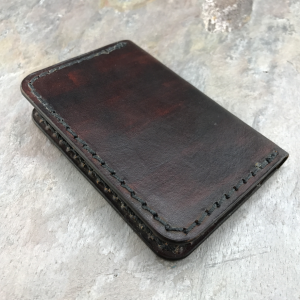 Handmade American Leather Minimalist Folder Wallet Dark Brown