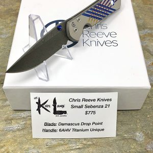 Chris Reeve Knives Small Sebenza 21 Damascus Drop Point Unique Graphic 2