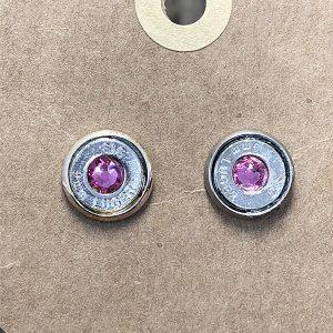 Heart of Brass Jewelry 9mm Nickel Ballistic Stud Earrings w Pink Swarovski Crystal Silver Plated Bezel