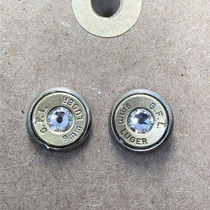 Heart of Brass Jewelry 9mm Brass Ballistic Stud Earrings w White Swarovski Crystal Silver Plated Bezel