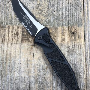 Microtech Socom Elite 161A-2T TE Auto Black Partially Serrated Blade Black Chassis Standard Hardware