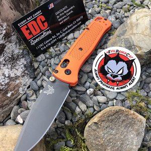 Benchmade Bugout Custom Hunter Orange Scales Plain Edge Blade and Lanyard
