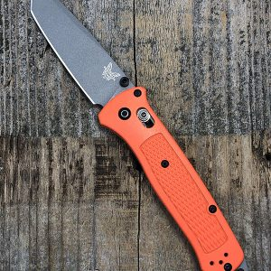 Benchmade Bailout Custom Hunter Orange Scales Plain Edge Blade
