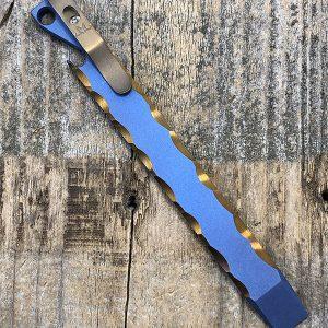 "Maverick Customs 6″ Titanium Prybar w Custom Anodizing ""HD Rock"" Blue/Bronze"