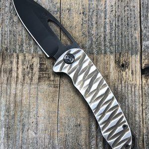 Medford Knife & Tool On Belay PVD Blade Custom Carved Titanium Handle